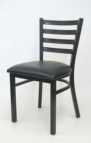 Metal Ladderback Chair with Vinyl Seat