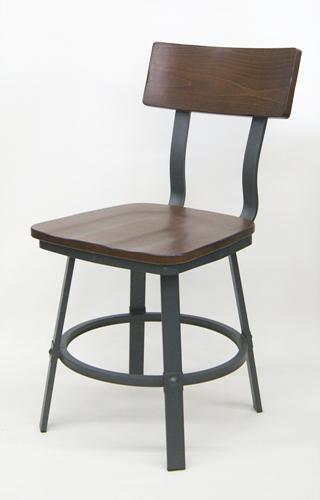 Walnut Wood and Metal Chair