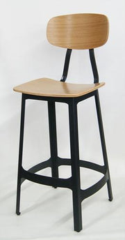 Oak Wood and Metal Bar Stool