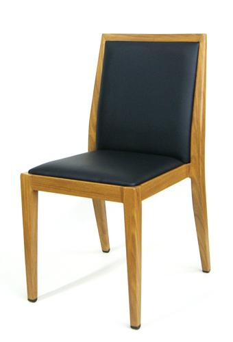 Wood Grain Metal Frame Side Chair