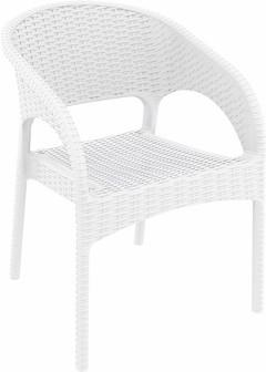 Compamia Panama Resin Wickerlook Dining Arm Chair White ISP808-WH - RestaurantFurniturePlus + Chairs, Tables and Outdoor - 1