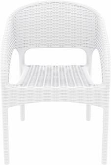 Compamia Panama Resin Wickerlook Dining Arm Chair White ISP808-WH - RestaurantFurniturePlus + Chairs, Tables and Outdoor - 4