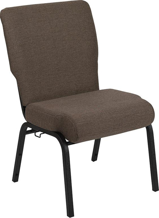 Advantage 20.5 Inch Width Molded Foam Church Chair with Book Rack - Textured Black Frame