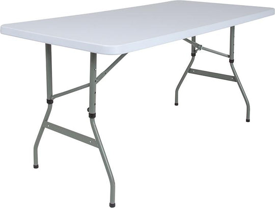 5-Foot Height Adjustable Granite White Plastic Folding Table