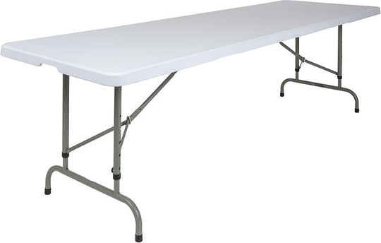 8-Foot Height Adjustable Granite White Plastic Folding Table