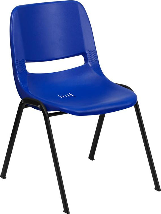 "HERCULES Series 440 lb. Capacity Kid's Ergonomic Shell Stack Chair with Black Frame and 12"" Seat Height"