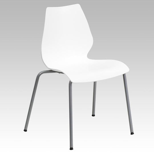 HERCULES Series 770 lb. Capacity Stack Chair with Lumbar Support and Silver Frame