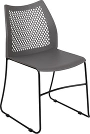 HERCULES Series 661 lb. Capacity Stack Chair with Air-Vent Back and Black Powder Coated Sled Base