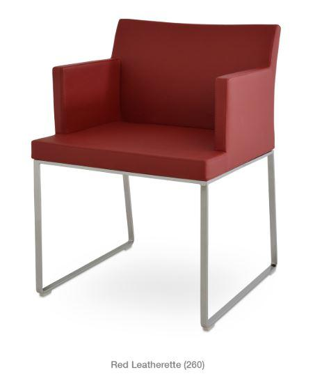 Soho Armchair with Metal Sled Base - YourBarStoolStore + Chairs, Tables and Outdoor - 1