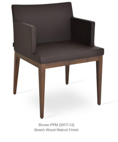 Soho Armchair with Wood Base