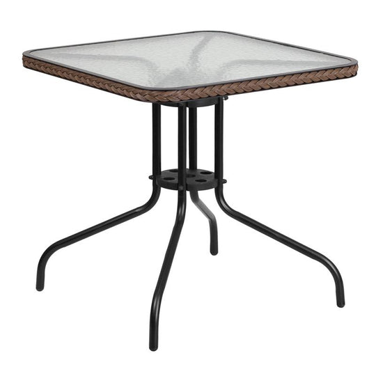 28'' Square Tempered Glass Metal Table with Rattan Edging