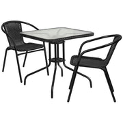 28'' Square Glass Metal Table with Rattan Edging and 2 Rattan Stack Chairs