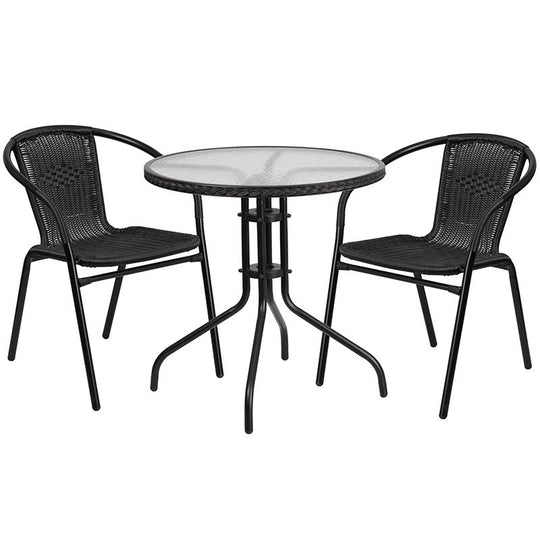 28'' Round Glass Metal Table with Black Rattan Edging and 2 Black Rattan Stack Chairs