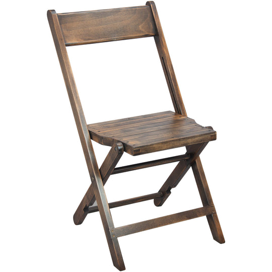 2-Pack Advantage Slatted Wood Folding Wedding Chair - Antique Black