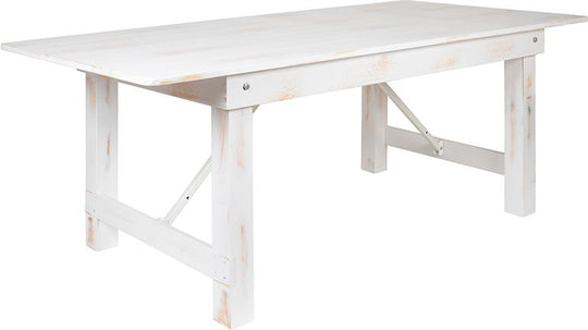 "HERCULES Series 7' x 40"" Rectangular Antique Rustic White Solid Pine Folding Farm Table"