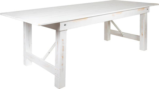 "HERCULES Series 8' x 40"" Rectangular Antique Rustic White Solid Pine Folding Farm Table"