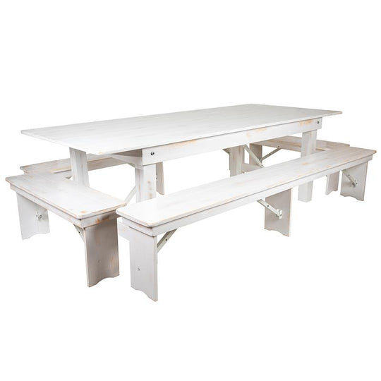 "HERCULES Series 8' x 40"" Antique Rustic White Folding Farm Table and Four Bench Set"