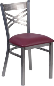 HERCULES Series Clear Coated ''X'' Back Metal Restaurant Chair