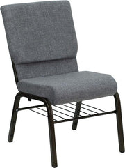 HERCULES Series 18.5''W Church Chair in Fabric with Book Rack - Gold Vein Frame