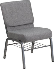 HERCULES Series 21''W Church Chair in Fabric with Book Rack - Silver Vein Frame