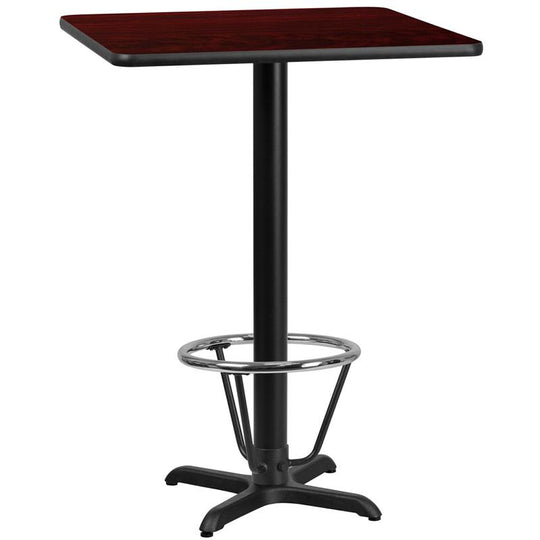 30'' Square Laminate Table Top with 22'' x 22'' Bar Height Table Base and Foot Ring
