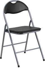 2 Pk. HERCULES Series Black Vinyl Metal Folding Chair with Carrying Handle