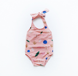 Pink print girls bathers swimsuit