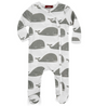ORGANIC FOOTED ROMPER -Grey Whales
