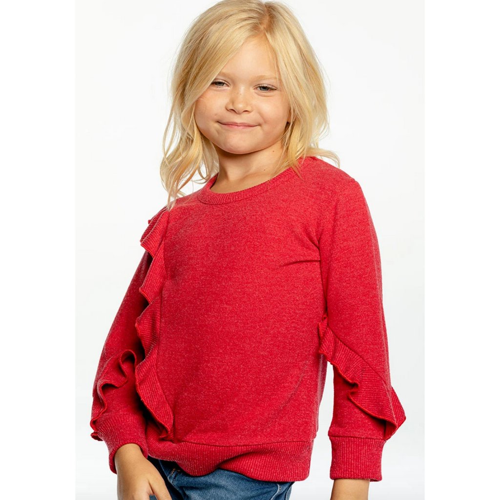 Chaser Kid Bliss Knit Ruffle Pull Over