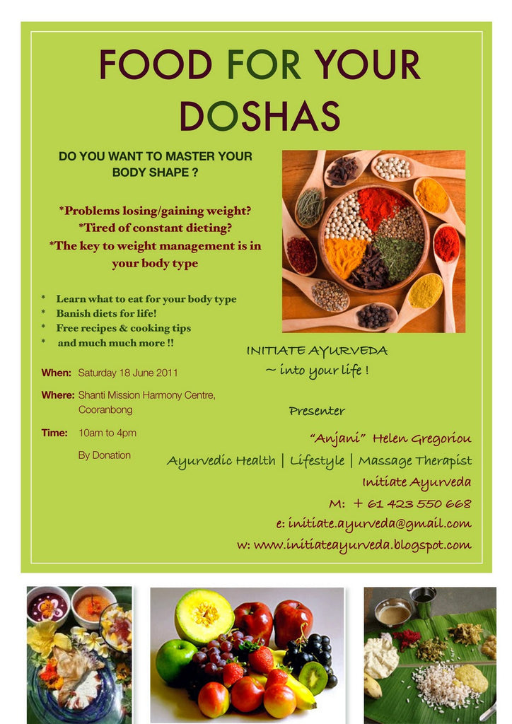 Ayurvedic Workshops: Food For Your Doshas