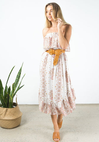 barefoot bohemian siskin frill midi dress natural