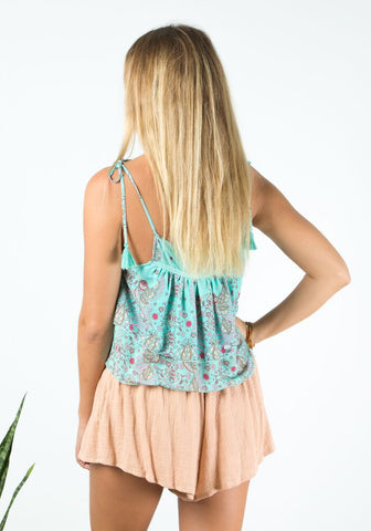barefoot bohemian Goldfinch Tie Top - Bluejay