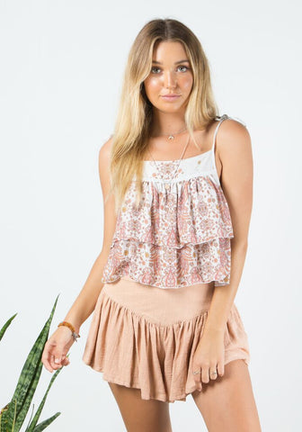Barefoot Bohemian Goldfinch Tie Top - Natural