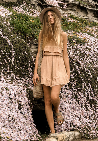 barefoot bohemian Siskin Frill Mini Dress - Vintage Peach