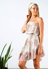 barefoot bohemian Siskin Frill Mini Dress - natural bird
