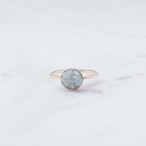 Raw aquamarine mosaic gemstone 14k rose gold filled ring, druzy ring spiritual rough gemstones crystals crushed