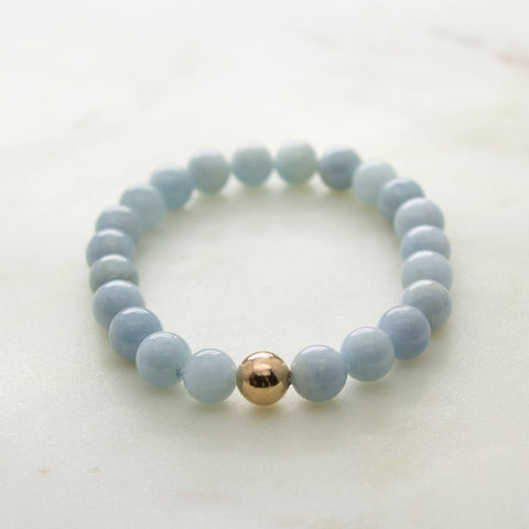 Aquamarine mala bracelet * I Am Serene * rose gold filled mala meditation yoga spiritual march birthstone