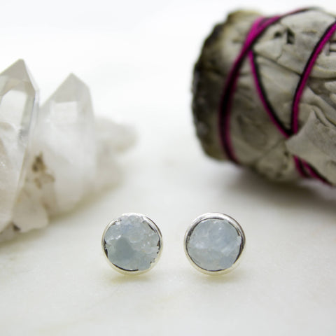 Raw aquamarine mosaic gemstones sterling silver stud earrings, sterling silver yoga meditation spiritual rough gemstones crushed crystals