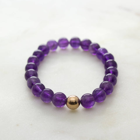 Amethyst mala bracelet * I Am Balanced * rose gold filled wrist mala meditation yoga spiritual boho jewelry