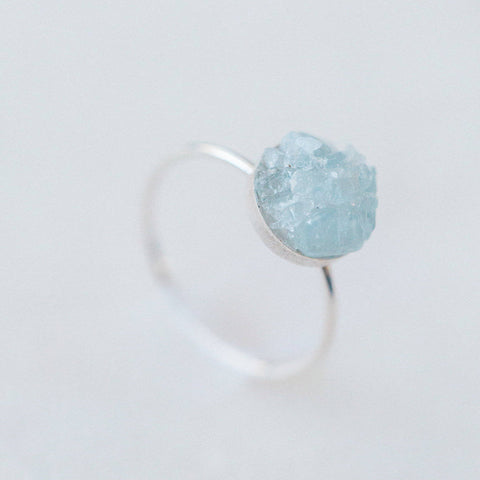Raw aquamarine mosaic gemstone sterling silver ring, sterling silver yoga meditation spiritual rough gemstones crystals crushed gemstones