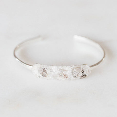 Herkimer Diamond + quartz mosaic sterling silver bangle bracelet boho chic jewelry spiritual jewelry gemstone cuff bracelet crushed gemstone