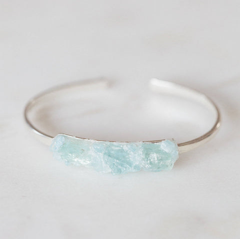 Aquamarine mosaic sterling silver bangle bracelet boho chic jewelry spiritual jewelry gemstone cuff bracelet crushed gemstones