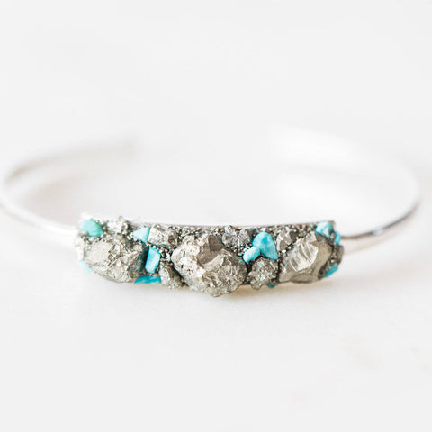 Turquoise + pyrite mosaic sterling silver bangle bracelet boho chic jewelry spiritual jewelry gemstone cuff bracelet crushed crystals