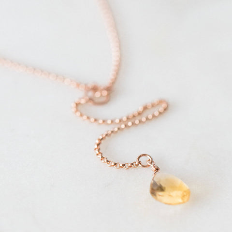 Yellow topaz + 14k rose gold filled delicate lariat necklace * for mainfesting * minimalist necklace layering necklace
