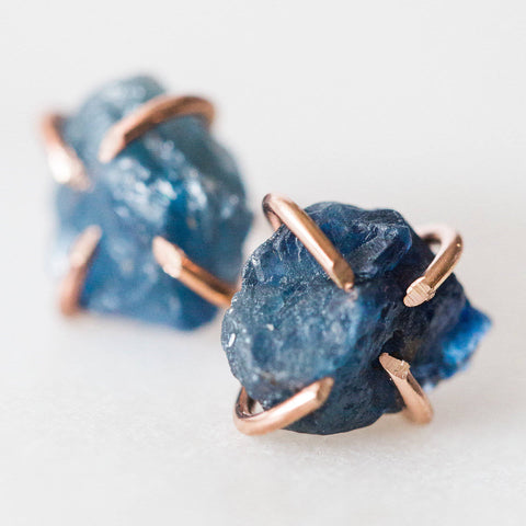 Raw blue sapphire gemstone stud earrings * I Am Journeying * sterling silver / rose gold filled spiritual rough gemstones crystals