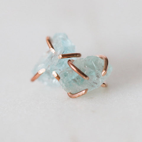 Raw aquamarine gemstone stud earrings * I Am Serene * sterling silver / 14k rose gold filled spiritual rough gemstones crystals
