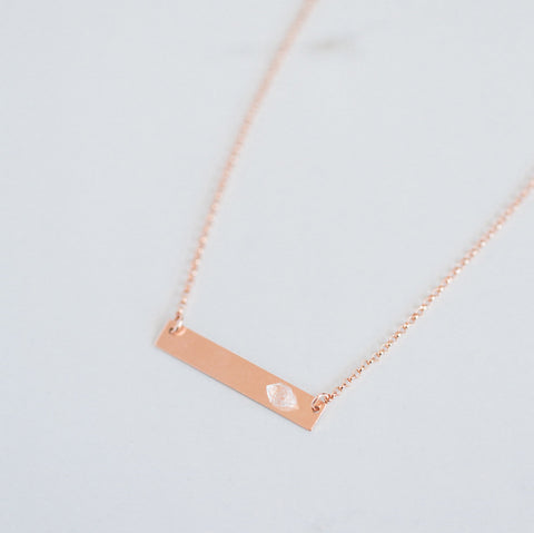 Herkimer Diamond and 14k Rose Gold filled bar necklace | April birthstone | delicate rose gold necklace | bridal jewellery | minimalist