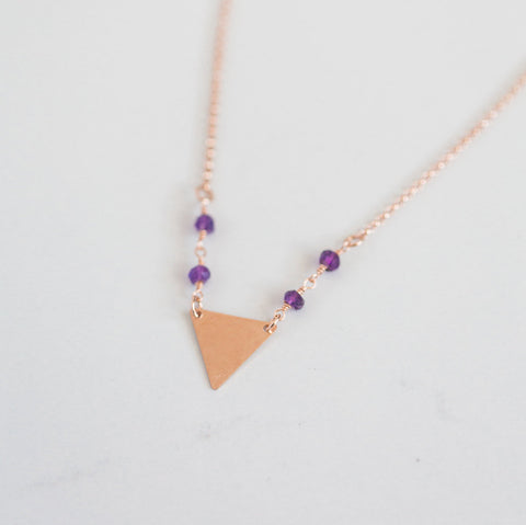Amethyst + triangle gemstone charm choker necklace |  | 14k rose gold filled gemstone delicate necklace | layering necklace