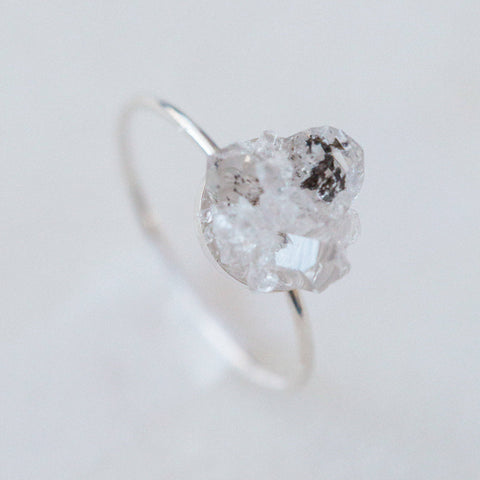 Raw herkimer diamond quartz mosaic gemstones sterling silver ring, sterling silver spiritual rough gemstones crystals crushed gemstones