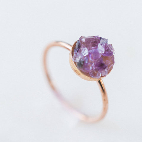 Raw amethyst mosaic gemstone 14k rose gold filled ring, druzy ring spiritual rough gemstones crystals crushed
